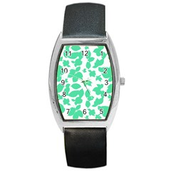 Botanical Motif Print Pattern Barrel Style Metal Watch