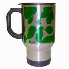 Botanical Motif Print Pattern Travel Mug (Silver Gray)