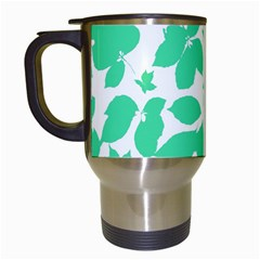 Botanical Motif Print Pattern Travel Mugs (White)