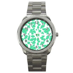 Botanical Motif Print Pattern Sport Metal Watch