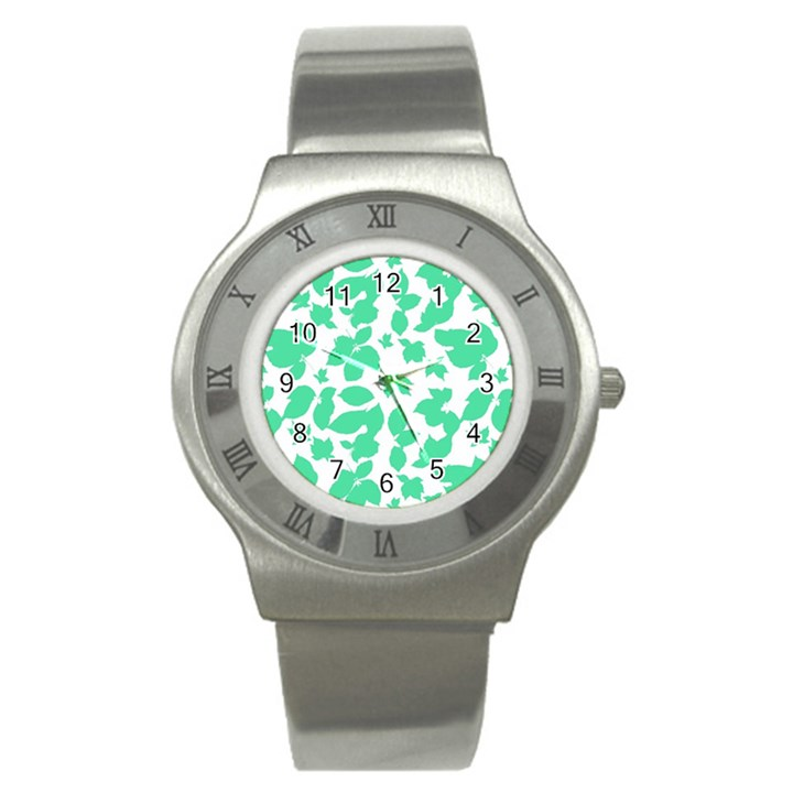 Botanical Motif Print Pattern Stainless Steel Watch