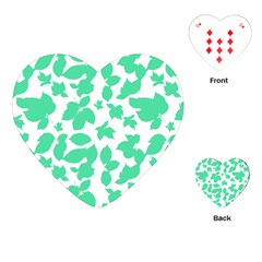 Botanical Motif Print Pattern Playing Cards Single Design (Heart)