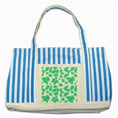 Botanical Motif Print Pattern Striped Blue Tote Bag