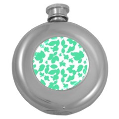 Botanical Motif Print Pattern Round Hip Flask (5 oz)