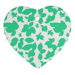 Botanical Motif Print Pattern Heart Ornament (Two Sides)
