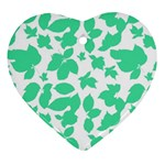 Botanical Motif Print Pattern Heart Ornament (Two Sides) Front