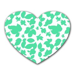 Botanical Motif Print Pattern Heart Mousepads