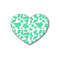 Botanical Motif Print Pattern Rubber Coaster (Heart)
