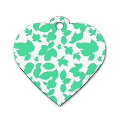 Botanical Motif Print Pattern Dog Tag Heart (One Side)
