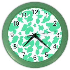 Botanical Motif Print Pattern Color Wall Clock