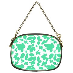 Botanical Motif Print Pattern Chain Purse (One Side)