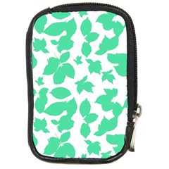 Botanical Motif Print Pattern Compact Camera Leather Case