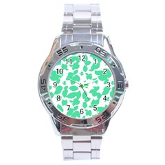 Botanical Motif Print Pattern Stainless Steel Analogue Watch