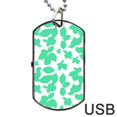 Botanical Motif Print Pattern Dog Tag USB Flash (Two Sides)