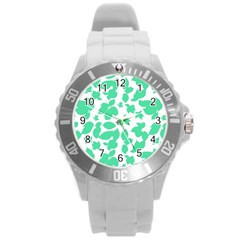 Botanical Motif Print Pattern Round Plastic Sport Watch (l) by dflcprintsclothing