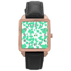 Botanical Motif Print Pattern Rose Gold Leather Watch