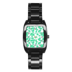 Botanical Motif Print Pattern Stainless Steel Barrel Watch