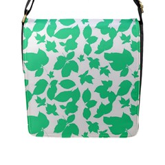 Botanical Motif Print Pattern Flap Closure Messenger Bag (L)