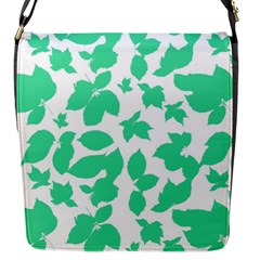 Botanical Motif Print Pattern Flap Closure Messenger Bag (S)