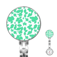 Botanical Motif Print Pattern Stainless Steel Nurses Watch