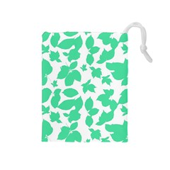 Botanical Motif Print Pattern Drawstring Pouch (Medium)