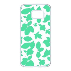 Botanical Motif Print Pattern Samsung Galaxy S7 edge White Seamless Case