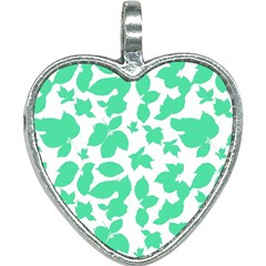 Botanical Motif Print Pattern Heart Necklace