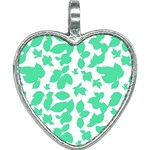 Botanical Motif Print Pattern Heart Necklace Front