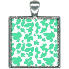 Botanical Motif Print Pattern Square Necklace
