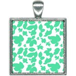 Botanical Motif Print Pattern Square Necklace Front
