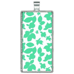 Botanical Motif Print Pattern Rectangle Necklace