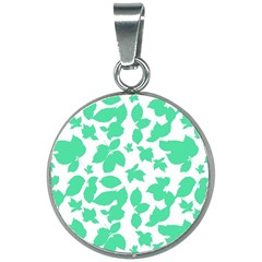 Botanical Motif Print Pattern 20mm Round Necklace