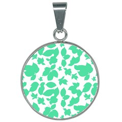 Botanical Motif Print Pattern 25mm Round Necklace