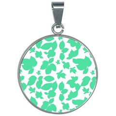 Botanical Motif Print Pattern 30mm Round Necklace