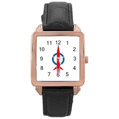 Flag Of Malaysia s Democratic Action Party Rose Gold Leather Watch  by abbeyz71