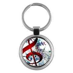 Music Treble Clef Sound Key Chain (round)