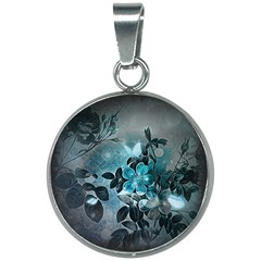 Elegant Floral Design With Butterflies 20mm Round Necklace