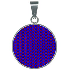 Blue Pattern Red Texture 25mm Round Necklace