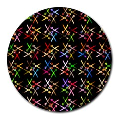 Scissors Pattern Colorful Prismatic Round Mousepads