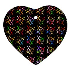 Scissors Pattern Colorful Prismatic Ornament (heart)
