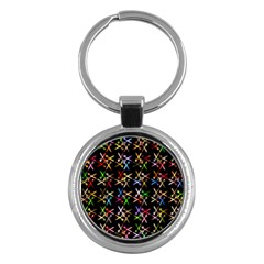 Scissors Pattern Colorful Prismatic Key Chain (round) by HermanTelo