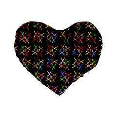 Scissors Pattern Colorful Prismatic Standard 16  Premium Flano Heart Shape Cushions