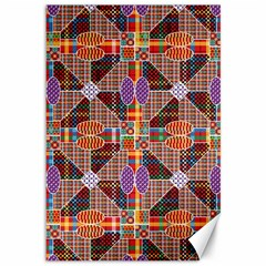 Decorated Colorful Bright Pattern Canvas 12  X 18