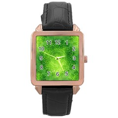 Pagan Mandala Seamless Tileable Green Rose Gold Leather Watch