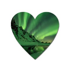 Snow Winter White Cold Weather Green Aurora Heart Magnet by Pakrebo