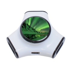 Snow Winter White Cold Weather Green Aurora 3 Port Usb Hub