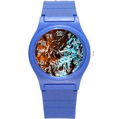 Water The Waves Brook Wallpaper Round Plastic Sport Watch (s)