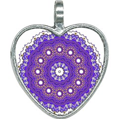 Mandala Abstract Design Pattern Blue Heart Necklace