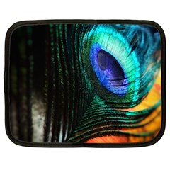 Green And Blue Peacock Feather Netbook Case (large)