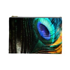 Green And Blue Peacock Feather Cosmetic Bag (large)